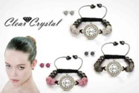 Clear Crystal - Shamballa Style Watch and Earring Sets - Save 72%