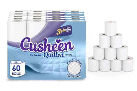 Avant Garde - Pack of 60 rolls of Cusheen quilted white three ply toilet paper - Save 0%
