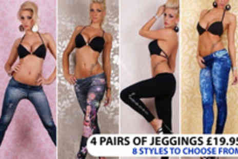 Vivacity Stores - 4 pairs of eye catching Jeggings - Save 83%