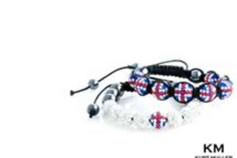 Kurt Muller - Designer Union Jack Beaded Bracelet - Save 78%