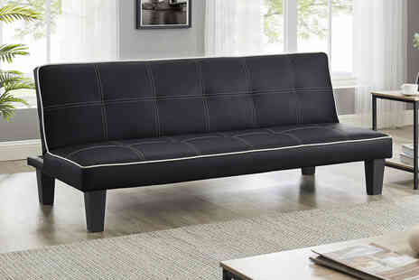 Modernique - Three seater Foustino faux leather black sofa bed - Save 60%