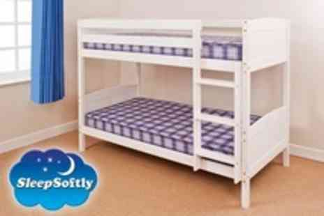 Sleep Softly - Solid Pine Bunk Bed in Antique Pine or White Finish - Save 63%