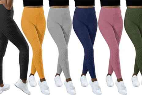 Groupon Goods Global GmbH - Womens Honeycomb Textured Fitness Leggings - Save 0%