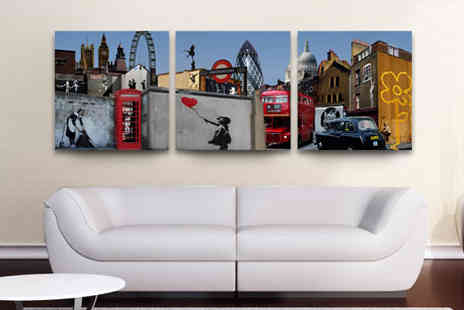 Banksy Panoramic Canvas - stunning three part panoramic canvas - Save 50%