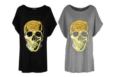Be Jealous - Gold foil skull print oversized batwing Tshirt in Black or Charcoal - Save 54%