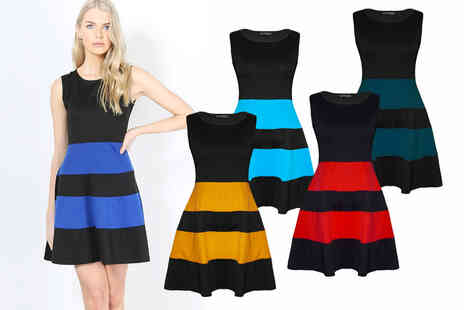 Be Jealous - Womens colour block skater dress - Save 23%