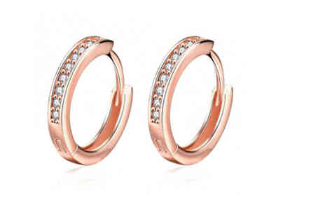Styled By - Set of rose gold crystal hoop earrings - Save 83%