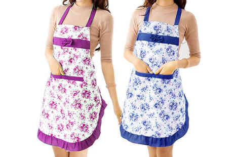 Boni Caro - Womens floral cooking apron in blue or purple - Save 76%