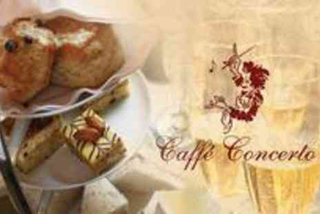 Caffe Concerto - Afternoon tea for two plus a glass of Champagne each on a delicious selection of sandwiches, scones, tarts, tea and a toast - Save 59%