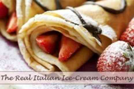 The Real Italian Ice Cream Company - Crepes For Two With Five Fillings Plus Drinks - Save 60%