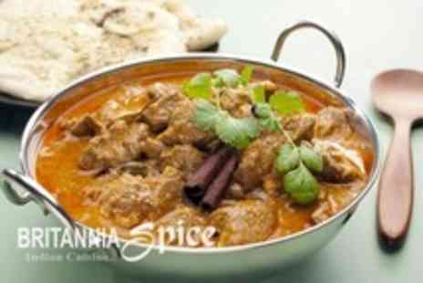 Britannia Spice - Two Course Indian Meal For Two With Rice or Naan Each - Save 58%