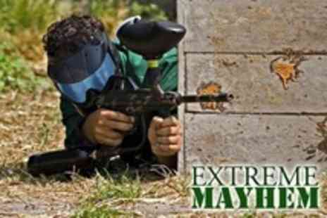 Extreme Mayhem - Paintballing For Five  With Light Lunch and 100 Paintballs Each - Save 80%
