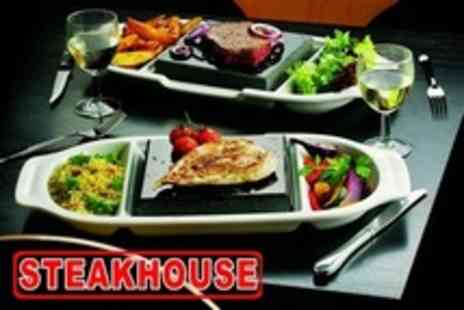 Steakhouse - Volcanic Rock Exotic Steak Meal With Wine For Two - Save 55%