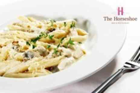 The Horseshoe Bar and Restaurant - Italian Meal For Two With Large Glass of Wine - Save 13%