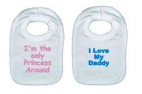 Little Cuddles - Pack of 3 personalised cotton bibs plus the chance to win a fabulous prize - Save 58%