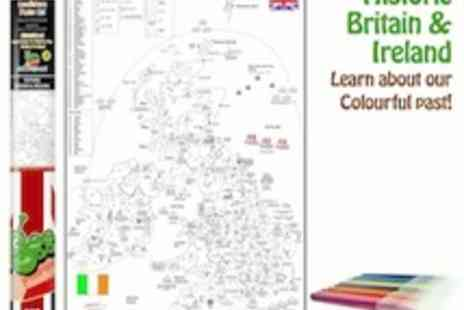 Doodle Bugz - Doodlebugz colouring in A1 historic map with 20 fibre pens - Save 50%