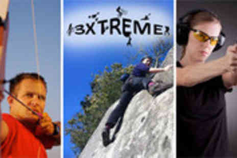 3xtreme - Extreme activities day including climbing, abseiling, shooting, archery - Save 58%