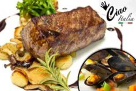Ciao Italia - Mussels and Steak For Two - Save 61%