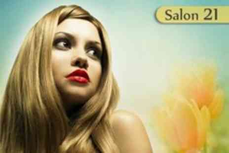 Salon 21 - Half Head Highlights or Full Colour With Restyle Cut and Finish Plus Mini Manicure or Pedicure - Save 69%