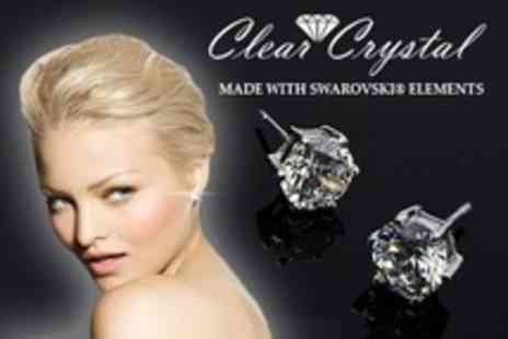 Clear Crystal - White Gold Plated Solitaire Earrings - Save 72%