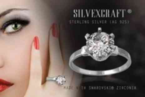 Silvexcraft - Sterling Silver Ring With Swarovski zirconia Crystal - Save 97%