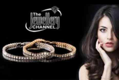 The Jewellery Channel - Sterling Silver Diamond Bracelet With 14K Gold or Platinum Overlay - Save 60%