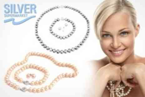 Silver Supermarket - Three Piece Freshwater Pearl Set - Save 83%