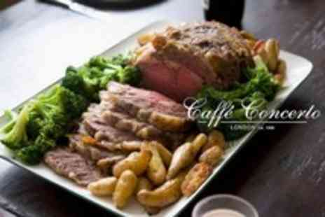 Caffe Concerto - Sunday Roast For Two With Drink - Save 53%