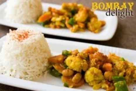 Bombay Delight - Two Course Indian Takeaway With Rice Naan and Poppadoms For One - Save 67%