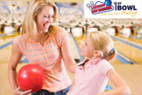 1st Bowl - Family Bowling Pass including 2 Games and Food - Save 67%