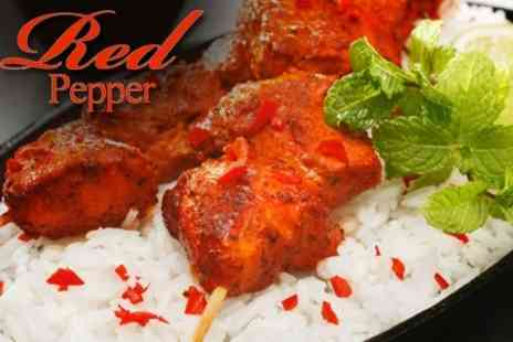 Red Pepper - Two Course Indian Meal For Two with Sides, Poppadums and Chutneys - Save 60%