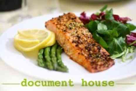 Document House - Two Course Meal For Two With Bottle of Wine - Save 57%