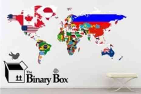 The Binary Box - World Map Wall Sticker With Flags, Markers, or Labels - Save 50%