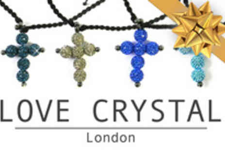 Love Crystal - Make a sparkling statement with a gorgeous Shamballa style cross necklaces - Save 81%
