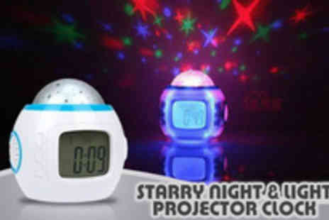 Power Gadget - Music and starry sky Night Light and Sound Projector Clock - Save 70%