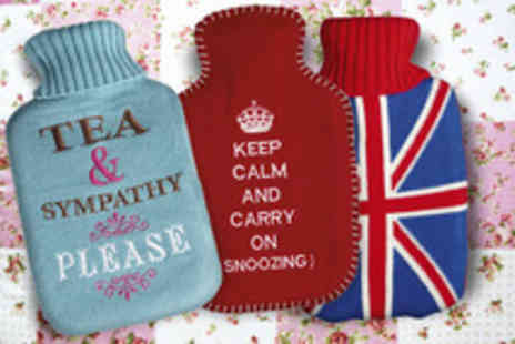 Dotcomgiftshops - Tea and sympathy or Union Jack hot water bottle & cover the Keep calm and carry on design - Save 50%