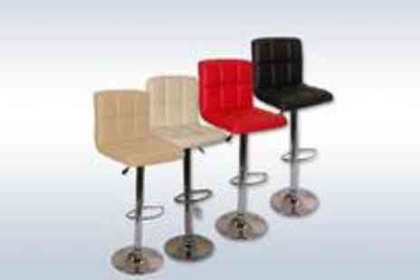 Guaranteed4less.com - Pair of faux leather Cuba gas-lift bar stools - Save 50%