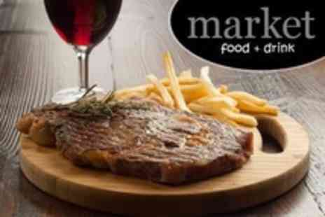 The Market - Rib Eye Steak, Chips and Wine For Two - Save 56%