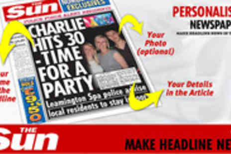 In The Paper - Make any occasion one to remember with a personalised Sun newspaper - Save 50%