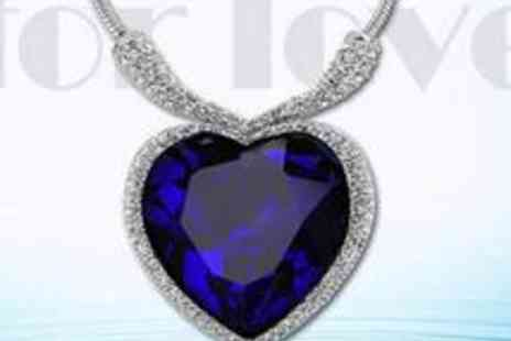 Androids Market - An 18k White Gold Swarovski Titanic Heart of the Ocean Necklace - Save 74%