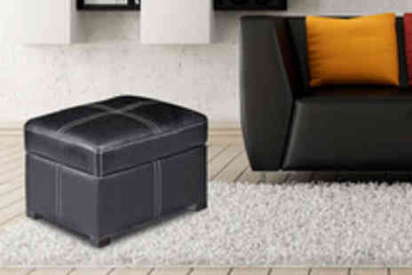 Leather Fabric Sofas - Faux leather ottoman footstool with internal storage - Save 72%