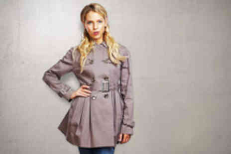 Anastasia Fashions - Stylish belted trench coat in beige or blue - Save 50%