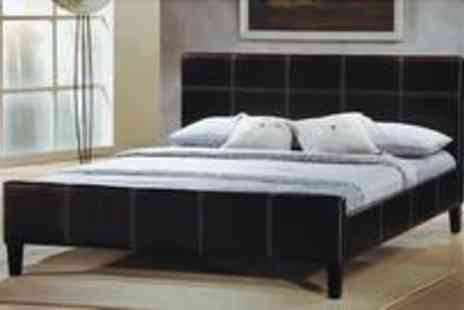 SleepyKing - King size Lisa faux leather bed with a deep quilted damask fabric mattress - Save 75%