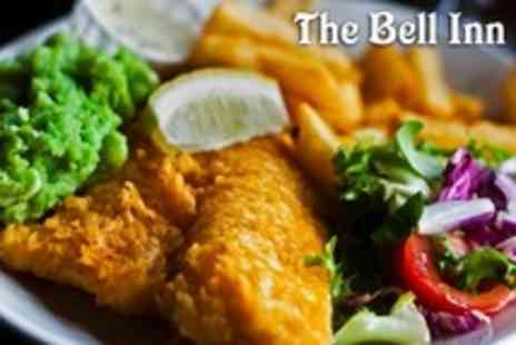 The Bell Inn - Fish and Chips Meal With Dessert and Wine For Two - Save 53%