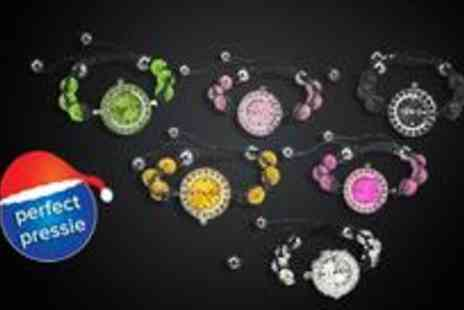 Funky Pig - Crystal encrusted watch bracelet and choose from six stylish colours - Save 87%