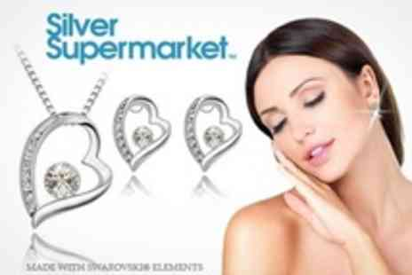 Silver Supermarket - One Solitaire Necklace and Earring Set With SWAROVSKI ELEMENTS - Save 73%