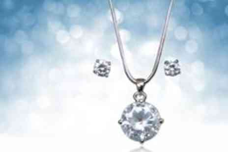 Premier Jewellery - Clear Crystal Necklace and Earrings Set - Save 40%