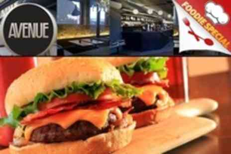 Avenue Bar and Grill - Starter, Burger and Drink For Two - Save 57%