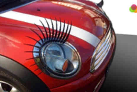 Car Eyelashes Direct - Give Your Car a Boost of Personality with a Set of Car Eyelashes Like Black, Clear or Pink - Save 50%