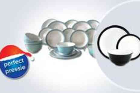 DinnerWare House - Stylish 24 piece Coloured Band Camden Dinner Set in black and white - Save 50%